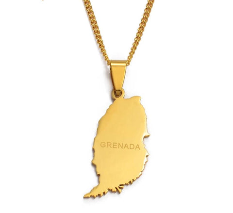 Grenada Island Map Pendant Thin Chain - Gold Color Jewelry