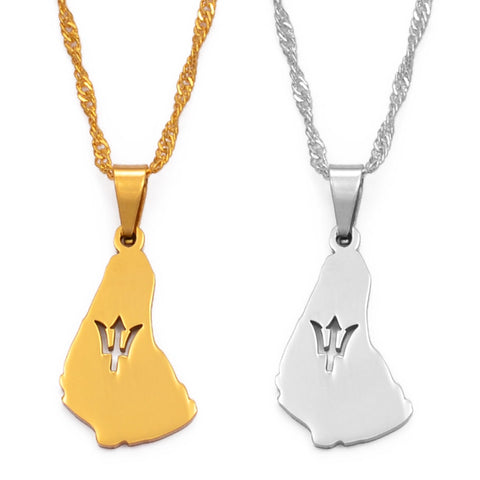 Image of Barbados Island Pendant Necklaces - Gold/Silver Color Jewelry