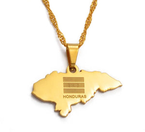 Honduras Map Pendant Necklaces - Gold Color Jewelry