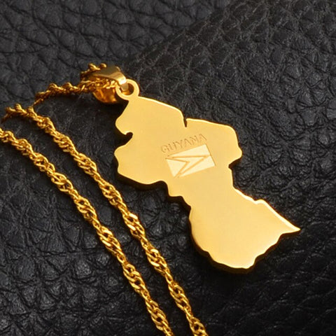 Image of Guyana Map Flag Pendant Necklace - Gold Color Jewelry