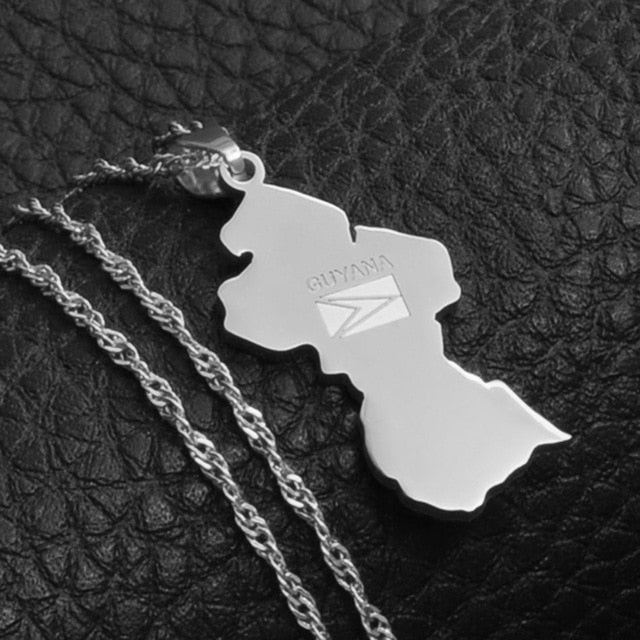 Guyana Map Flag Pendant Necklace - Gold Color Jewelry