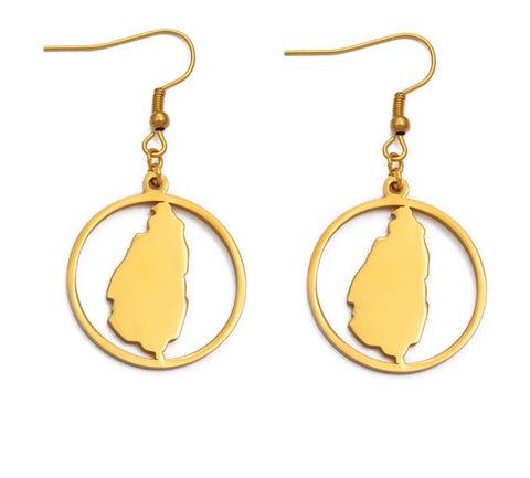 Saint Lucia Map Earrings - Gold Color Jewelry