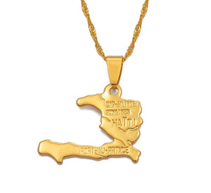 Haiti Map Necklace Pendants - Gold Color Jewelry