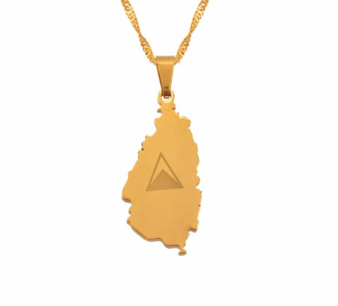 Saint Lucia Map Flag Necklaces - Gold Color Jewelry