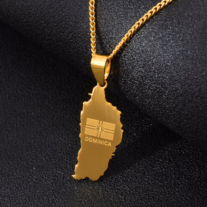 Dominica Map & Flag Pendant Chain Necklaces - Gold Color Jewelry