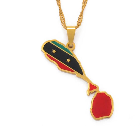 Saint Kitts and Nevis Map Flag Pendant Chain Necklaces - Gold Color Jewelry