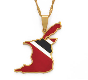 Trinidad and Tobago Map Flag Pendant Necklace - Gold Color Jewelry