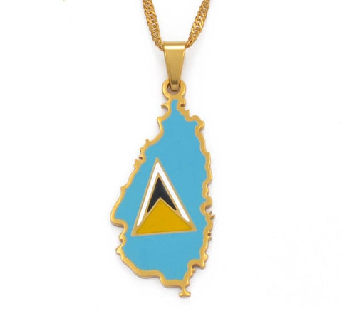 Saint Lucia Map Flag Necklace Pendant  - Gold Color Jewelry