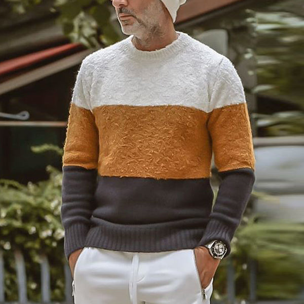 Men's Color Block Round Neck Sweater