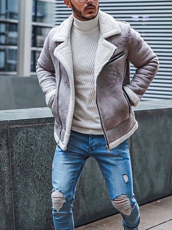 Fashion Men'S Lapel Thickened Zipper Jacket