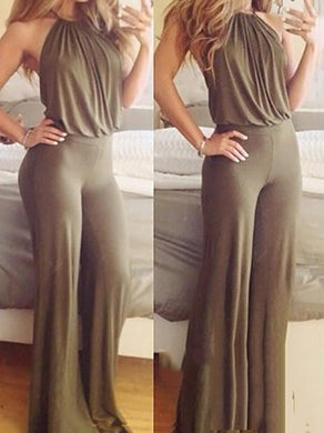 Fashion Sexy Backless Solid Color Jumpsuit