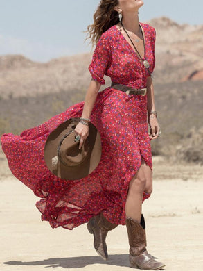 Floral Printed Sexy V Collar Split Long Maxi Dress