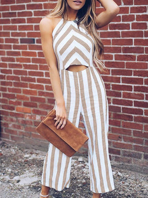 Casual Sleeveless Striped Long Jumpsuit