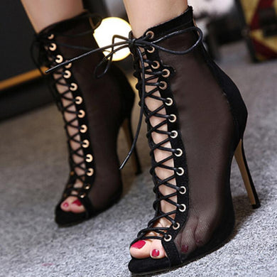 Cross Strap Sexy Mesh Fish Mouth High Sandals