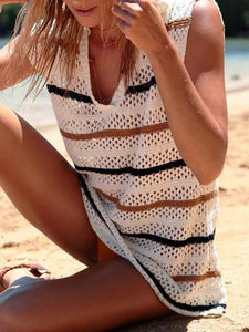 Knit Color Stripe Bikini Beach Smock