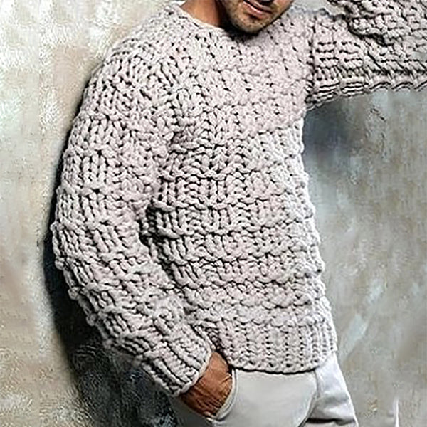 Man's Loose Pure Colour Warmth Sweater