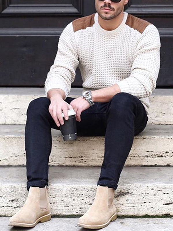 Men's Fashion Long Sleeve Round Neck Waffle Loose Sweater