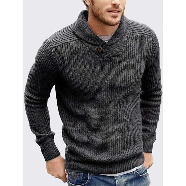 Man's Contracted Temperament Stand Colla Sweater