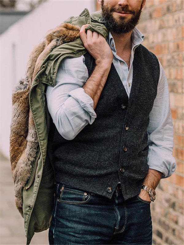 Men's Solid Color Single Breasted Vest
