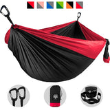 Camping Hammock - Black with Red Trim