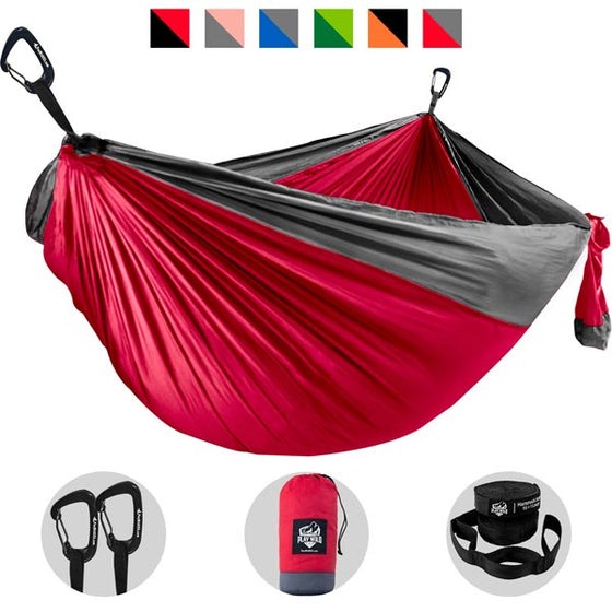Camping Hammock - Red with Gray Trim