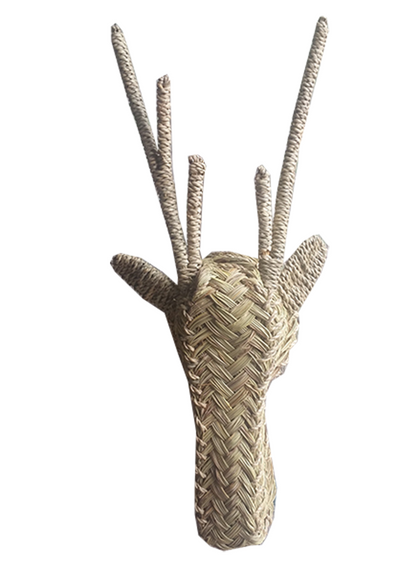 Deer with Antlers - Woven Straw Hooks