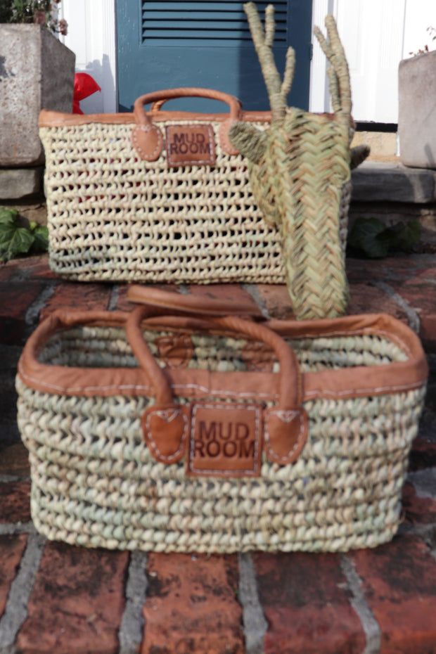 A Bogo! - S/2 Natural Catch All Basket w/ Interior Pocket PLUS Free Deer Decor