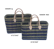 Boathouse Lugano Sea Blue and Natural Basket - Large