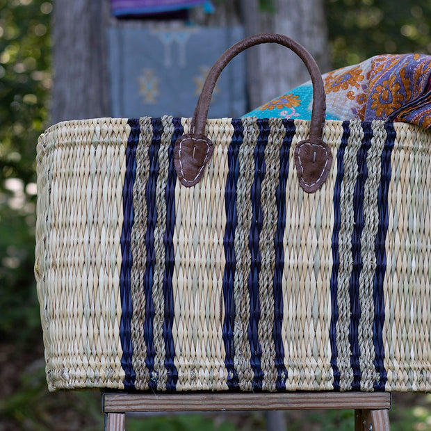 Booker's Market Tote - Grey and Blue Stripes