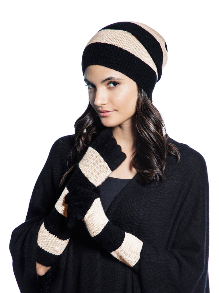 +BERYLL CASHMERE BEANIE & GLOVES SET