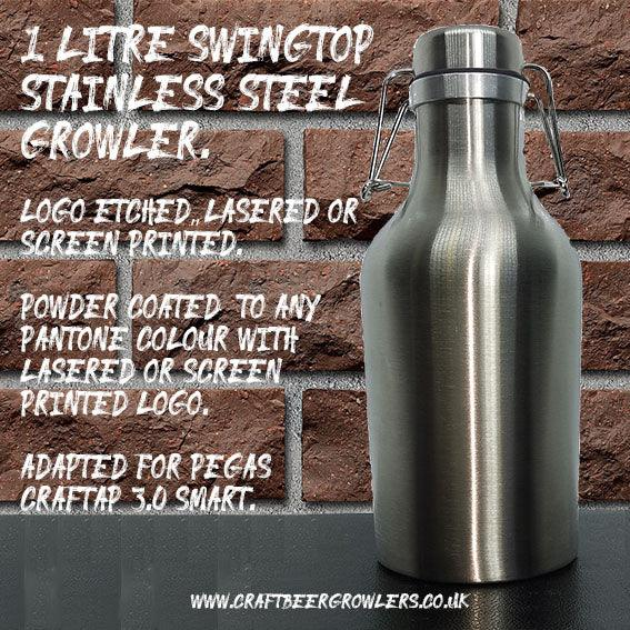 1 Litre Blank Stainless Steel Swing Top Growler from £10.42 ex Vat Each (Delivered Mainland UK)