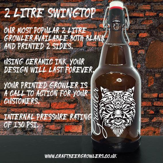 2 Litre Printed Glass Swingtop Growler From £5.74 Ex Vat (Delivered Mainland UK)