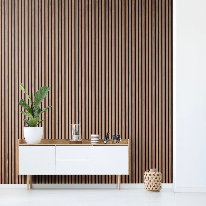 Walnut Slat Wood Panels fluted panel