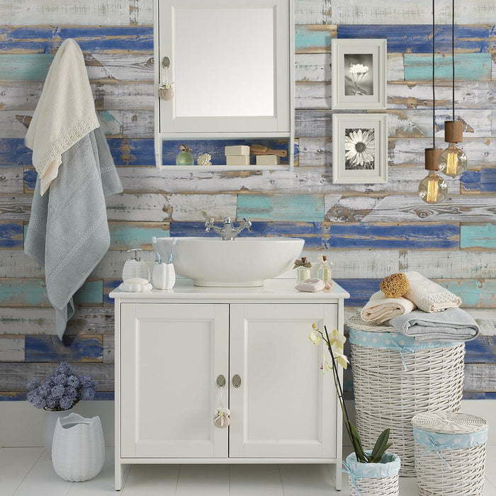 Blue Reclaimed Wood Wall Panels accent wall