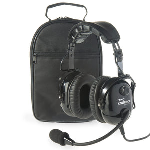 CA501 Premium PNR Pilot Aviation Headset with Aux Input and Carrying Case - Jet Black