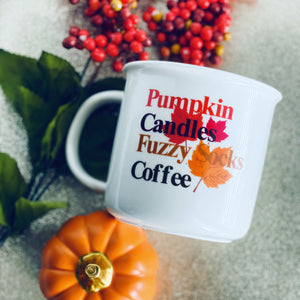 Pumpkin, Fuzzy Socks, Candles and Coffee mug
