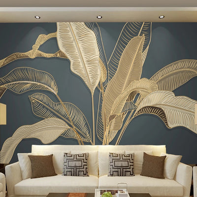 3D Mural banana leaf wallpaper