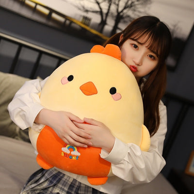 Kawaii Fat Stuffed Animal Chicken Bear Rabbit Penguin Piggy Dinosaur Plush Pillow
