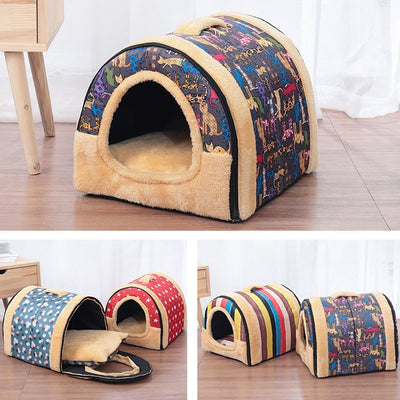 Comfortable Foldable Cat Bed House