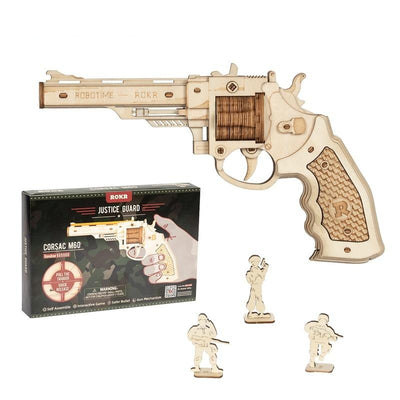 DIY Wooden Rubber Band Gun Revolver Buliding Kit Toys