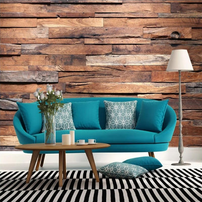 3D Mural Wallpaper Retro Wood Grain Decor Papel - Goods Shopi