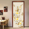 3D Mural Door Stickers Golden Flowers Butterfly - Goods Shopi