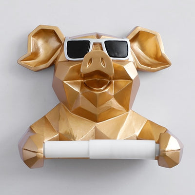 Animal toilet paper holder wall mount