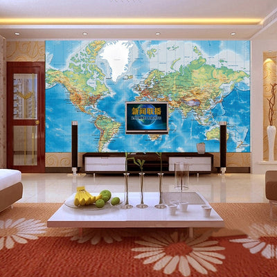 Mural Wallpaper World Map Study Kid's Room - Goods Shopi