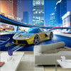 3D Wallpaper Mural Yellow Sport Car