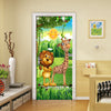 3D Mural Door Sticker Forest Animal Children Room - Goods Shopi