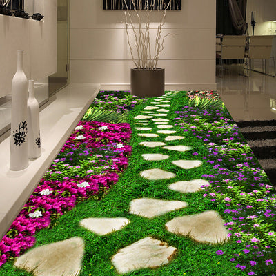 3D Mural Self adhesive Floor Flowers Stone - Goods Shopi