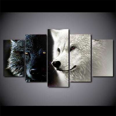 Canvas Printing Black White Wolf Couple Wall Art - Goods Shopi
