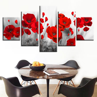 5 Piece canvas prints Red Flowers bedroom wall decor - Goods Shopi