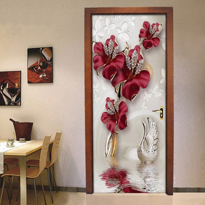 3D Mural Door Stickers Red Flower - Goods Shopi